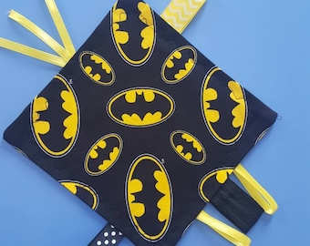 Batman Inspired Crinkle Tag Toy, Ribbon Tag Toy, DC inspired Baby Toy