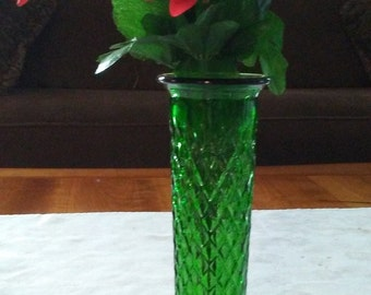 E.O. Brody Co. 919 U.S.A. - Green pressed glass vase