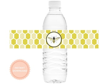 INSTANT DOWNLOAD, Honeybee Gender Reveal Printable Drink Wraps: As seen on Hostess with the Mostess