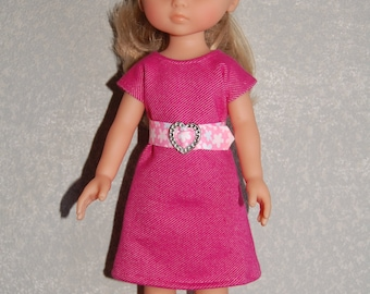 "Doll Clothes Pink Dress and removable belt TKCT513 handmade fits Corolle 13"" Les Cheries or 14"" Heart for Hearts READY TO Ship"