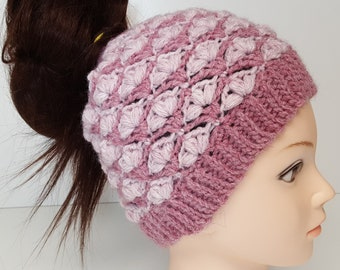 Crochet Messy Bun Hat Pattern, Petal Stitch- Adult size, crochet ponytail hat pattern. Crochet winter Hat pattern, slip stitch hat
