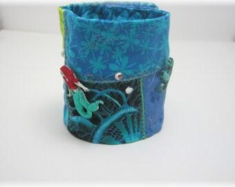 Mermaid/ Green/ Blue/ Fabric Bracelet/ Patchwork Cuff/Gypsy Cuff