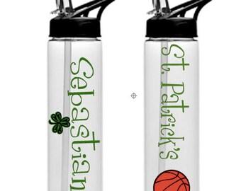 basketball water bottle, school sports water bottle, sports  bottle,Stocking stuffer , water bottle with straw, plastic water bottle, gift