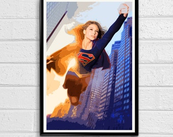 Supergirl CBS Television Show Illustration, Superhero Poster, Comic Book Pop Art, Print Canvas