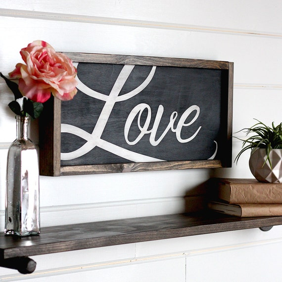 21 Most Unique Wood Home Decor Ideas: Love Sign Modern Farmhouse Wall Decor Wooden Signs Rustic