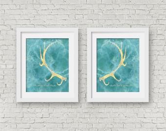 Antler wall art set of 2 prints deer antler prints modern art teal wall art gold and yellow kitchen decor bright wall art living room decor