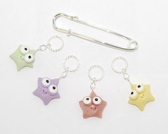 Starfish knitting or crochet stitch markers - set of 4 - polymer clay