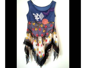 Gypsy denim tunic. Art to wear top. Boho top. Recycled clothing.