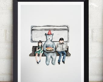 Birthday Bear Illustration, Print from Original watercolor