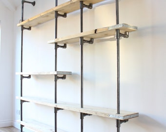 Wesley Scaffolding Boards and Dark Steel Pipe Wall Mounted and Floor Standing Industrial Shelves / Bookcase - Bespoke Urban Furniture Design