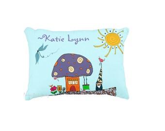 Gnome toss pillow personalized pillow kids decor toddler bedding gnomes dragonflies sunshine mushroom cute kawaii pillow