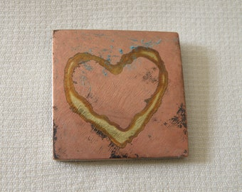 Love Squared 14K Gold Inlay Heart in Copper on Sterling Silver Pin - Signed