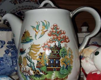 gaudy blue willow lidded coffee, tea, chocolate vessel.  between 50-100 yrs old.