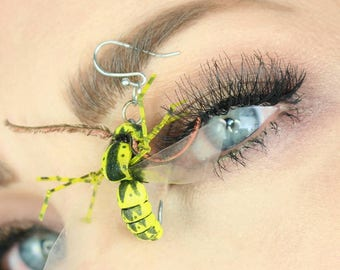 Hand Tied Hornet Fishing Lure Earrings