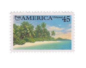5 Unused US Airmail Postage Stamps - 1990 45c America Caribbean Coastal - Item No. C127