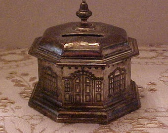 Vintage Metal Bank from the 1950's. Some Tarnish Tonning. But solid condition. FREE shipping USA only
