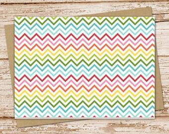 rainbow chevron notecard set . chevron notecards . blank cards . folded stationery . stationary . set of 6