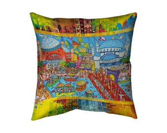 Big pillow (20'' x 20'') for Eurasia lovers with concealed zipper and double sided print! Aya Sofya & Blue Mosque. Istanbul, Turkey.
