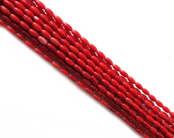 Coral Rice Bead, 8mm; 1 strand