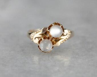 Victorian Moonstone Ring, Moonstone Bypass Ring, Antique Moonstone Ring NF1V8UZL-D