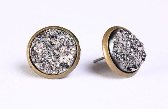 Silver black textured stud earrings - Faux Druzy post earrings (762)
