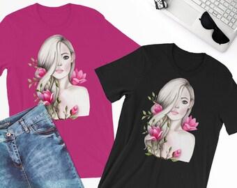 Graphic tees for women, Fashion tshirt, Women tshirt fashion, Women shirts, Women t shirt, Fashion illustration tshirt