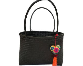 Shoulder Bag with Unique Heart Design - Handmade Woven Mexican Eco-friendly - Black