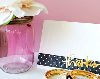 """Handmade Embossed Note Card with Real Foil - Reads """"Thanks"""""""