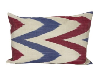 Blue and Pink Chevron Ikat Cushion Cover, 40 x 60 cm, Decorative Pillow
