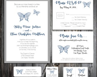Butterfly Wedding Invitations, RSVP's, Reception Insert w/ FREE Calendar Stickers