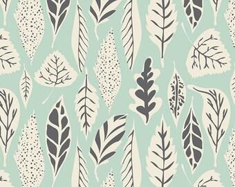 1 yard Hello Bear, Leaflet Eucalyptus, Bonnie Christine for Art Gallery Fabrics, Mint Green Fabric