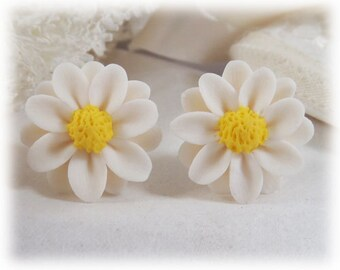 White Daisy Earrings Stud or Clip On -  White Daisy Jewelry