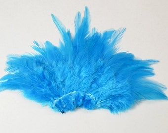 Rooster Saddle Feathers - Teal, 2 inch strip (50-60pcs)