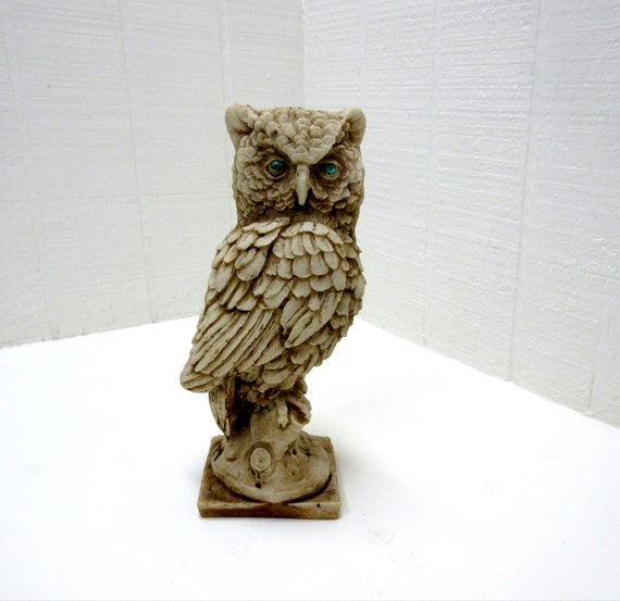 Vintage White Alabaster Horned Owl Figurine