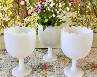 Milk Glass Vase Milk Glass Bowl Pedestal Vase Milk Glass Candy Dishes for Wedding Centerpiece Vases for Wedding Dessert Table Candy Buffet