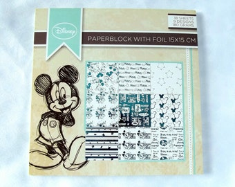 Block paper Disney, Mickey, paper 15 x 15, blue and white leaves, foil, scrapbooking, cardmaking, crafting