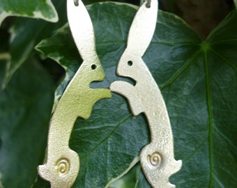 Dancing Hare Earrings Jewellery Vegan, UK  Free Postage SquareHare celtic druid wildlife countryside rabbits animal occult easter bunny gift