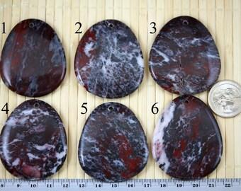 Natural Blood Stone Pendant Bead J1316