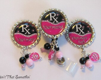 Pharmacy Retractable Badge Reels in Pink and Black - Pharmacy Badge Reel - Pharmacist Badge Clip - Designer Badge Reels - Badge Reel Gifts