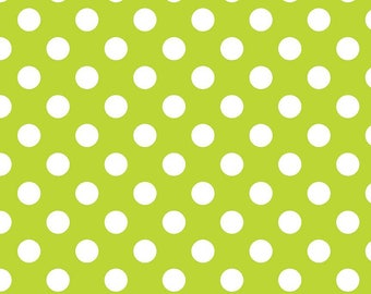 "Lime Medium Dots 3/4"" by Riley Blake Designs - White on Lime Green - Quilting Cotton Fabric - choose your cut"