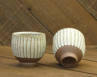 Teabowl - Yunomi - Carved - Ceramic Cup - Fluted - Tin White Glaze - Wheel Thrown - Reduction - Go Play Clay - Guiliotis - Made to Order