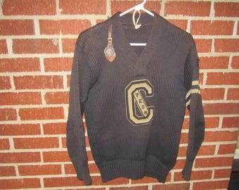 Vintage 1920s/30s Wool Chicago Technical College Key Fob and Letter Sweater