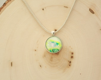 "1"" Silver and Glass Necklace Pendant #24 Neon Yellow"