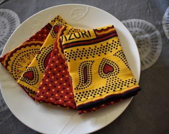 4 Kanga cloth napkins