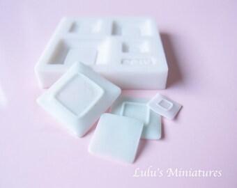 Silicone Flexible Square Plate Mold for Dollhouse Miniature