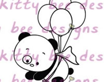 Superhero Panda Digital Stamp