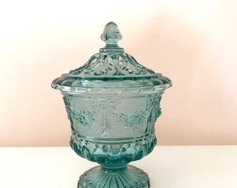 Vintage Blue Glass Lidded Pedestal Candy Dish
