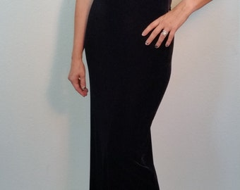90s Black Velvet Dress. Velvet Maxi Dress. Formal Dress. Velvet Body Con Dress. Sleeveless Black Dress. New Years Eve