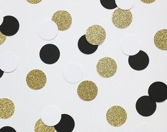 "150 Black + White + Gold Glitter 1"" Circle Confetti - Wedding, Engagement Party, Bachelorette, Black Tie Party, Party Supplies, Table Decor"