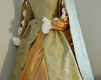 Elizabethan Renaissance gown, hanging sleeves, forepart, Sage green and gold, bodice, skirt, sleeves, chemise complete outfit ready to ship